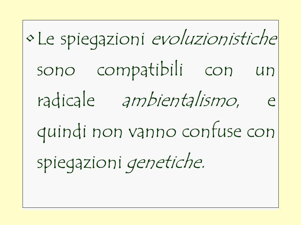 La spiegazione evolutiva non pretende di essere lunica possibile.