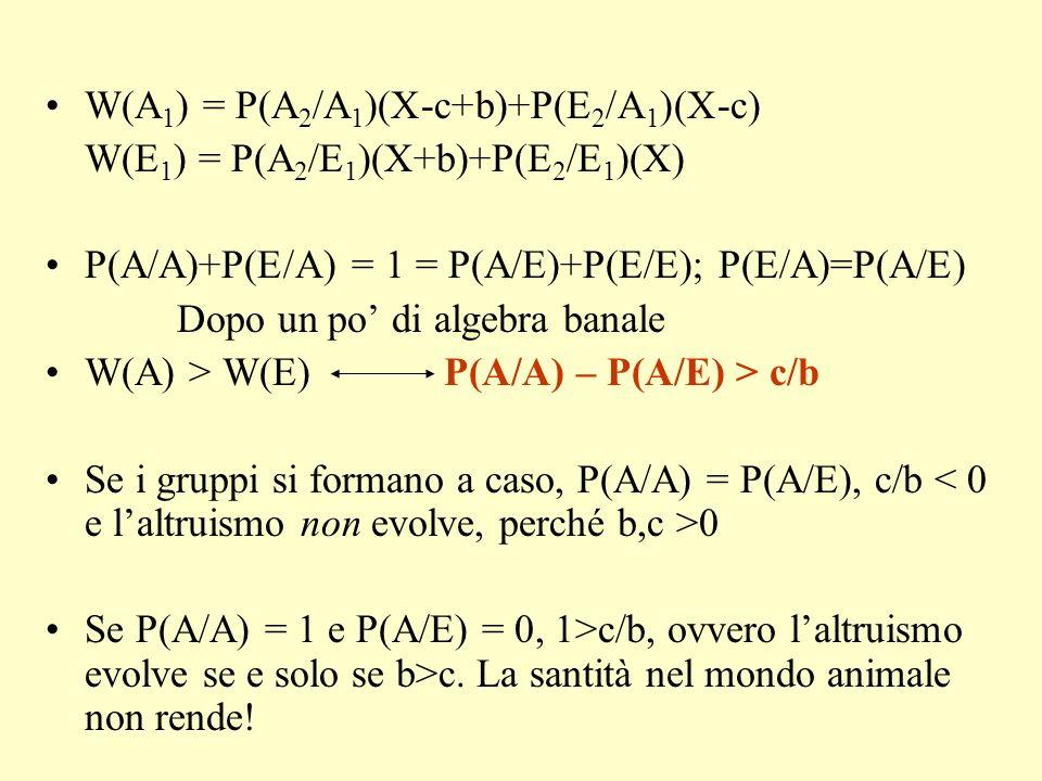 X - c + b X- c + b > > < < X + b X – c X - c X + b > > < < X X A 1 E 1 A2A2 E2E2 2) La teoria dei giochi e il dilemma del prigioniero