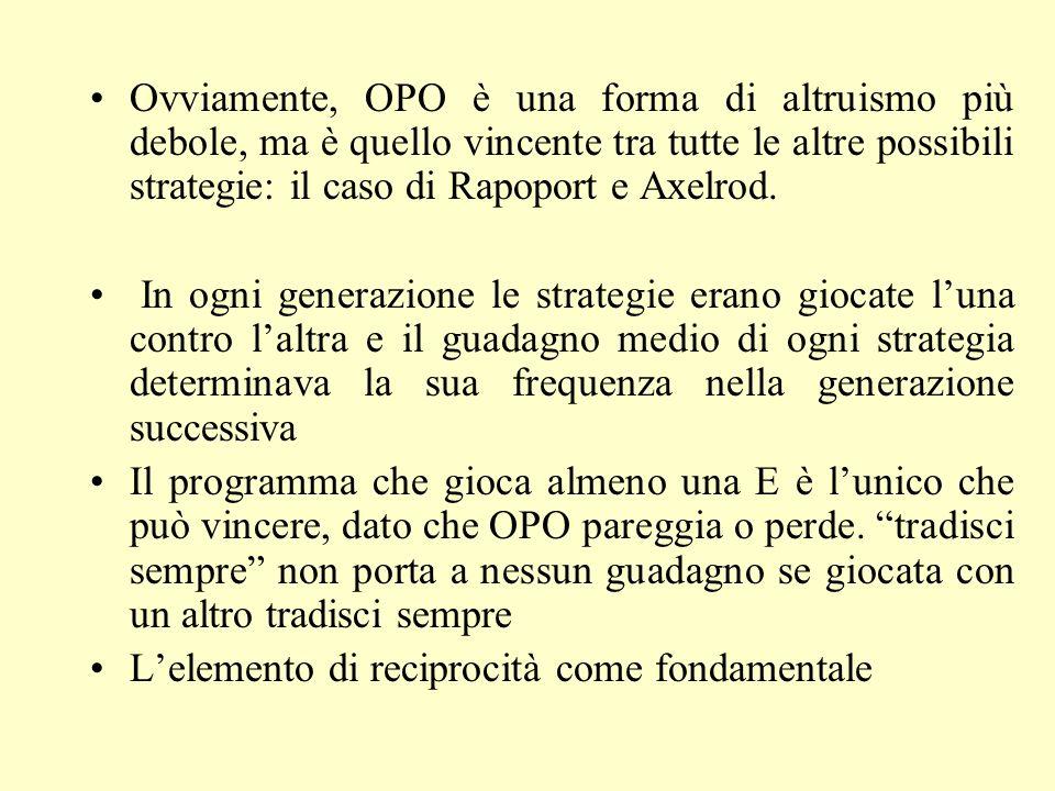 OPO E Entrambi ottengono I (b-c) OPO ottiene –c E ottiene b OPO ottiene –c E ottiene b Entrambi ottengono 0 OPO E Dilemma del prigioniero iterato I volte (teoria dei giochi ev.)