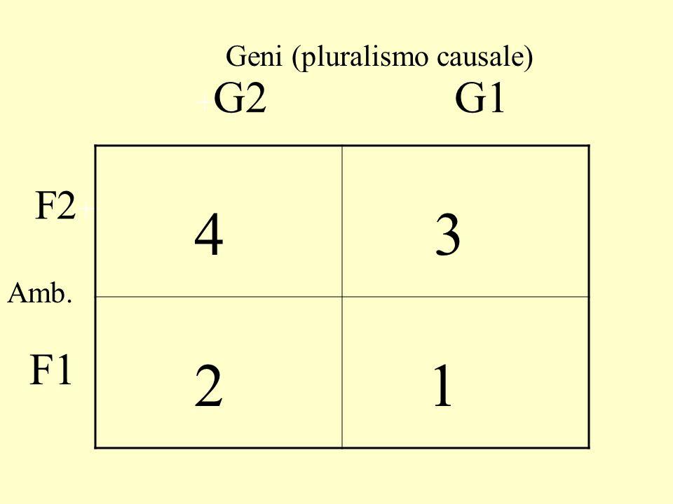 4 4 1 1 + G2 + G1 F1 F2 Geni Amb. causa monistica