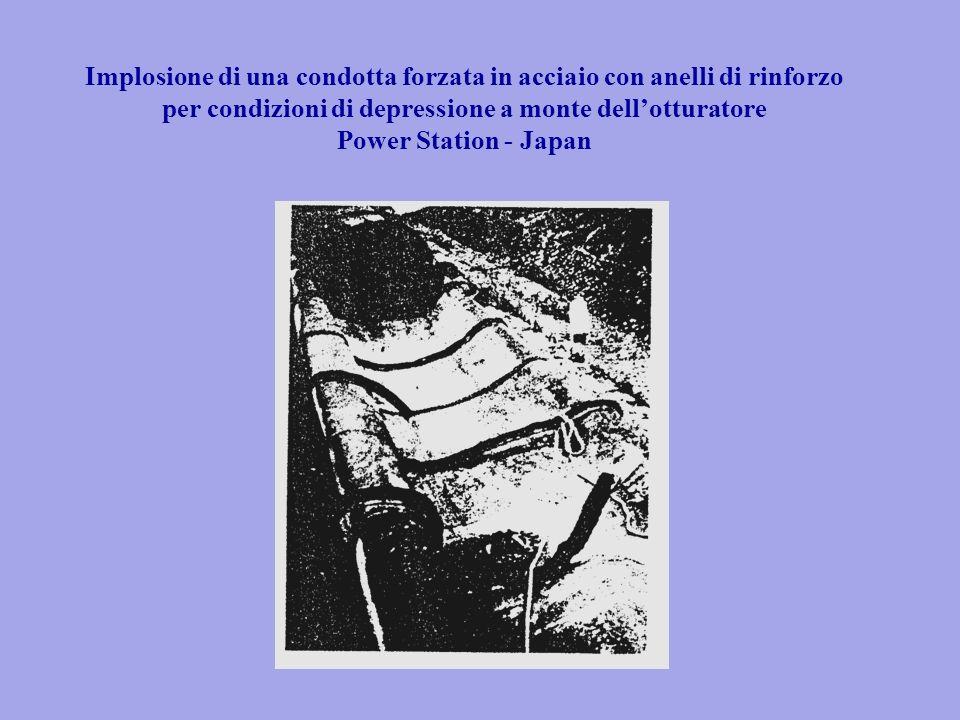 Implosione di una condotta forzata in acciaio con anelli di rinforzo per condizioni di depressione a monte dellotturatore Power Station - Japan