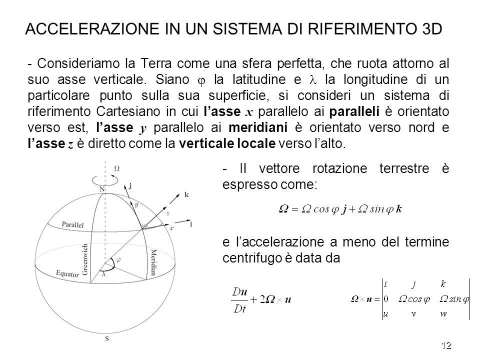 12 ACCELERAZIONE IN UN SISTEMA DI RIFERIMENTO 3D - Consideriamo la Terra come una sfera perfetta, che ruota attorno al suo asse verticale. Siano la la