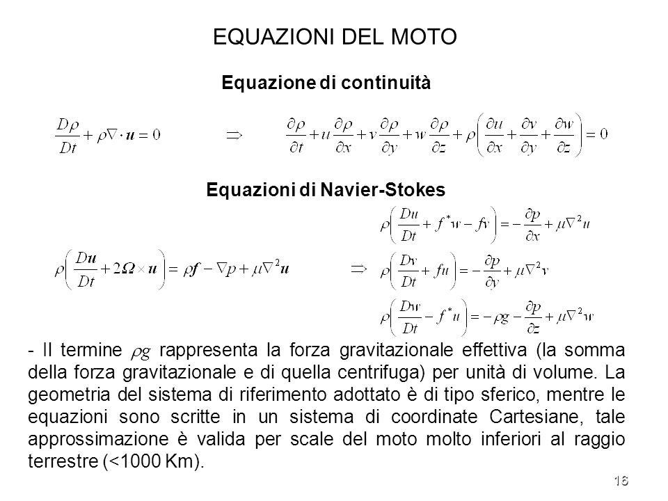 16 EQUAZIONI DEL MOTO Equazione di continuità Equazioni di Navier-Stokes - Il termine g rappresenta la forza gravitazionale effettiva (la somma della