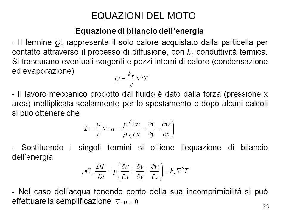 20 EQUAZIONI DEL MOTO Equazione di bilancio dellenergia - Il termine Q, rappresenta il solo calore acquistato dalla particella per contatto attraverso