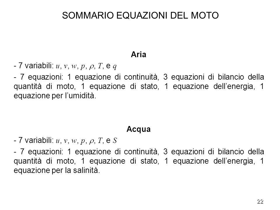 22 SOMMARIO EQUAZIONI DEL MOTO Aria - 7 variabili: u, v, w, p,, T, e q - 7 equazioni: 1 equazione di continuità, 3 equazioni di bilancio della quantit
