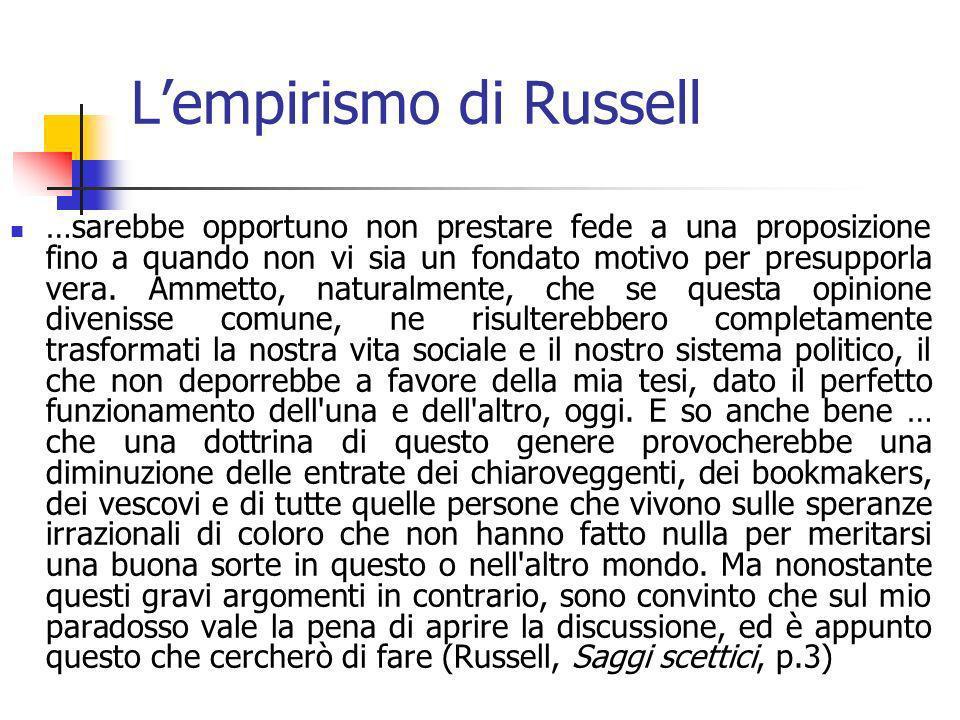 Lempirismo di Russell …sarebbe opportuno non prestare fede a una proposizione fino a quando non vi sia un fondato motivo per presupporla vera.