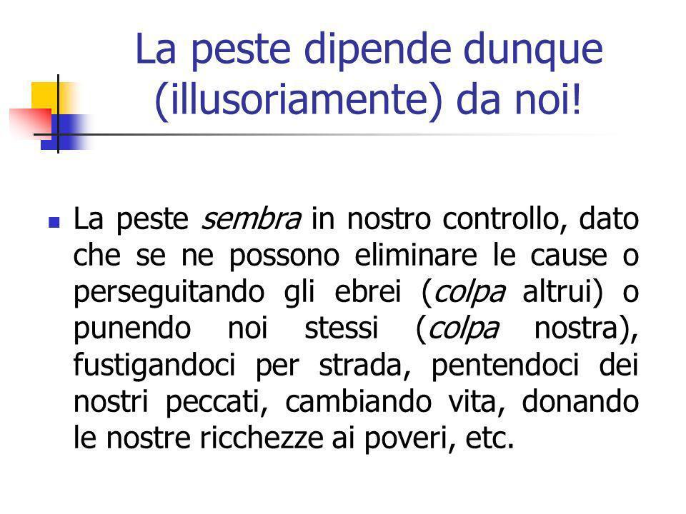 La peste dipende dunque (illusoriamente) da noi.
