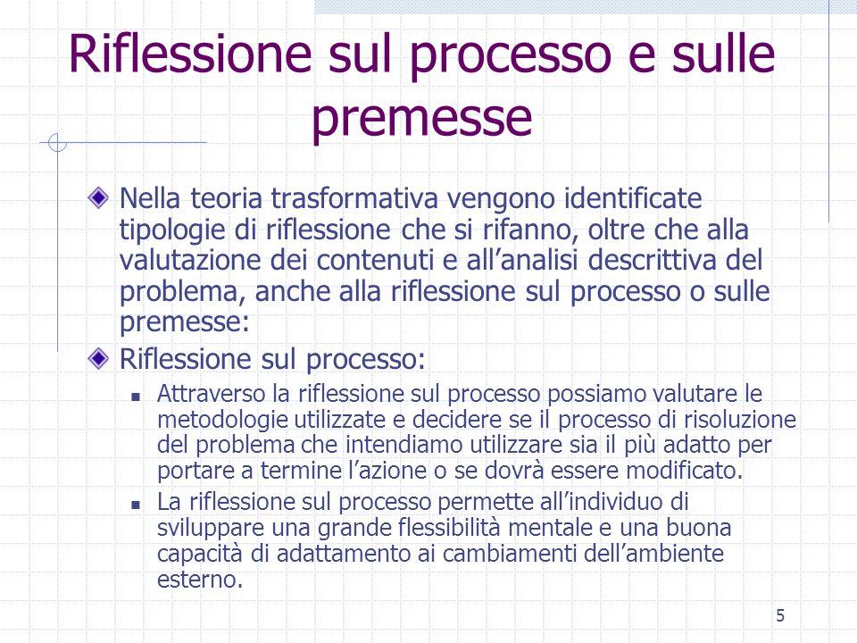 5 Riflessione sul processo e sulle premesse Nella teoria trasformativa vengono identificate tipologie di riflessione che si rifanno, oltre che alla va