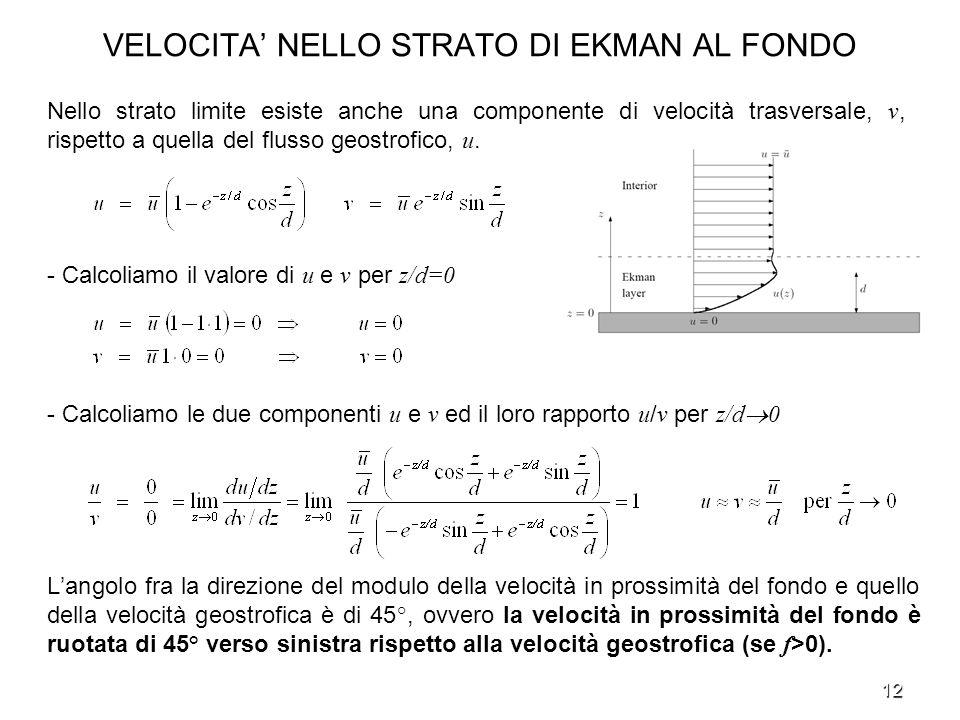 12 VELOCITA NELLO STRATO DI EKMAN AL FONDO - Calcoliamo il valore di u e v per z/d=0 - Calcoliamo le due componenti u e v ed il loro rapporto u / v pe