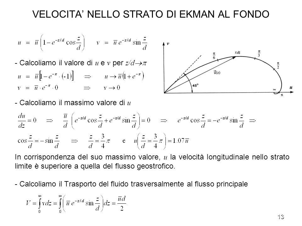 13 VELOCITA NELLO STRATO DI EKMAN AL FONDO - Calcoliamo il valore di u e v per z/d - Calcoliamo il massimo valore di u In corrispondenza del suo massi
