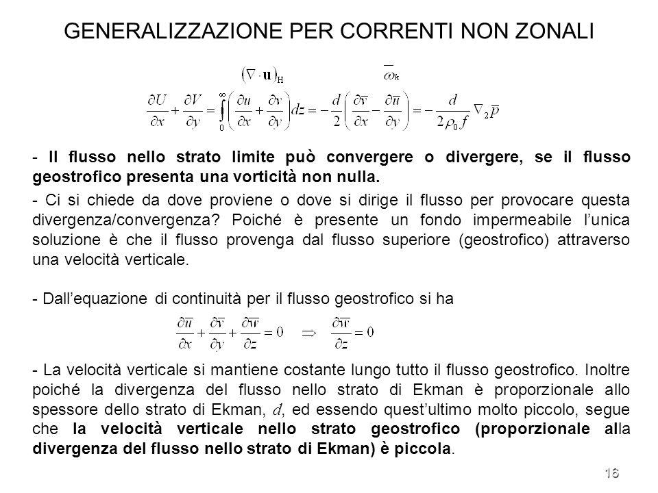 16 GENERALIZZAZIONE PER CORRENTI NON ZONALI - Il flusso nello strato limite può convergere o divergere, se il flusso geostrofico presenta una vorticit