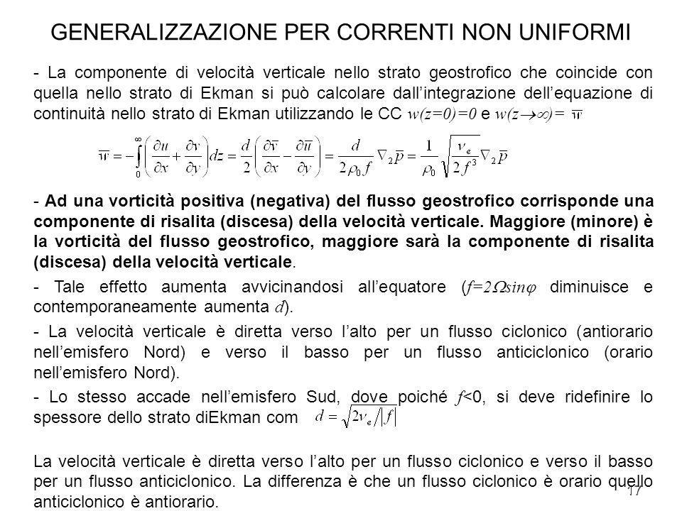 17 GENERALIZZAZIONE PER CORRENTI NON UNIFORMI - La componente di velocità verticale nello strato geostrofico che coincide con quella nello strato di E
