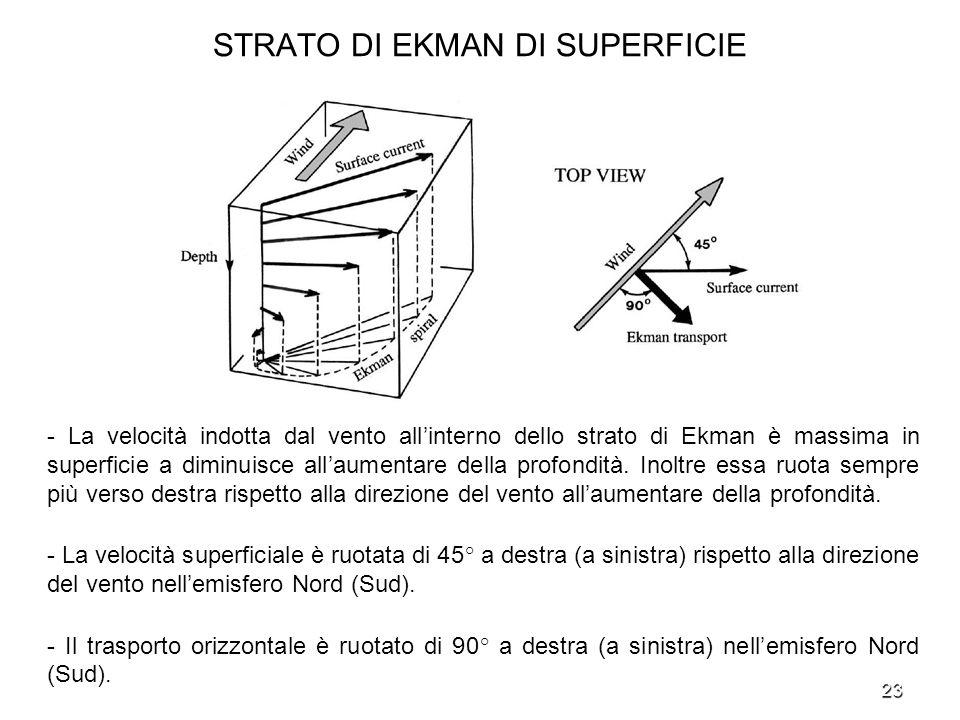 23 STRATO DI EKMAN DI SUPERFICIE - La velocità indotta dal vento allinterno dello strato di Ekman è massima in superficie a diminuisce allaumentare de
