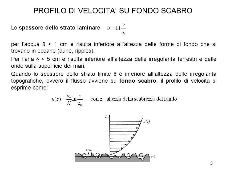3 PROFILO DI VELOCITA SU FONDO SCABRO Lo spessore dello strato laminare per lacqua < 1 cm e risulta inferiore allaltezza delle forme di fondo che si t