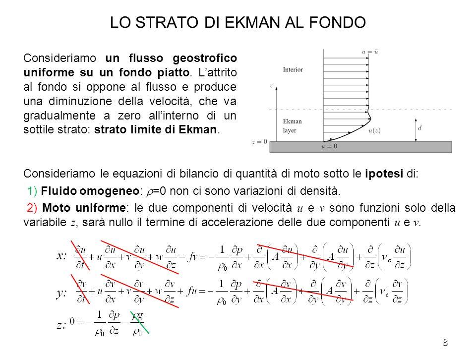 8 LO STRATO DI EKMAN AL FONDO Consideriamo un flusso geostrofico uniforme su un fondo piatto. Lattrito al fondo si oppone al flusso e produce una dimi