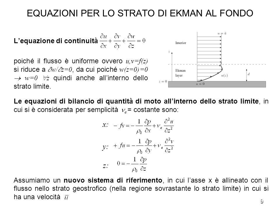 9 EQUAZIONI PER LO STRATO DI EKMAN AL FONDO Lequazione di continuità poiché il flusso è uniforme ovvero u,v=f(z) si riduce a w/ z=0, da cui poiché w(z