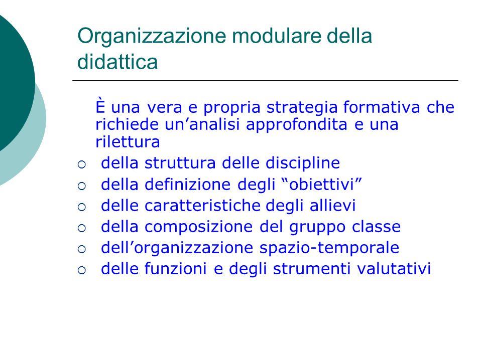 Organizzazione modulare della didattica È una vera e propria strategia formativa che richiede unanalisi approfondita e una rilettura della struttura d