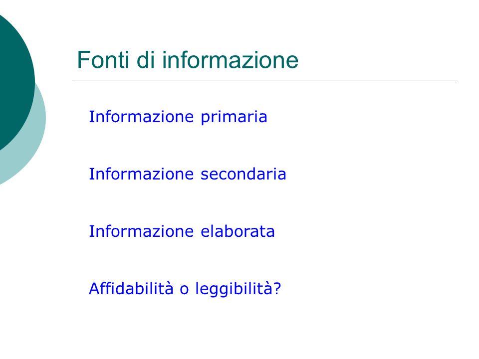 Fonti di informazione Informazione primaria Informazione secondaria Informazione elaborata Affidabilità o leggibilità?