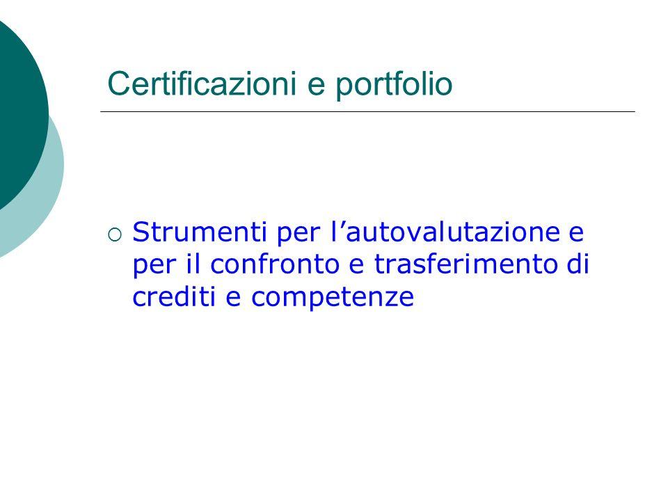 Certificazioni e portfolio Strumenti per lautovalutazione e per il confronto e trasferimento di crediti e competenze