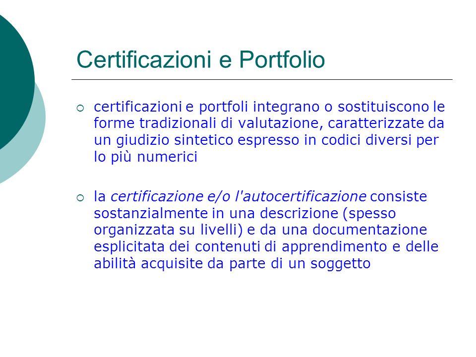 Certificazioni e Portfolio certificazioni e portfoli integrano o sostituiscono le forme tradizionali di valutazione, caratterizzate da un giudizio sin