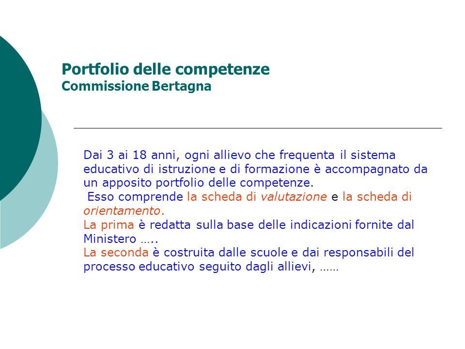 Portfolio delle competenze Commissione Bertagna Dai 3 ai 18 anni, ogni allievo che frequenta il sistema educativo di istruzione e di formazione è acco