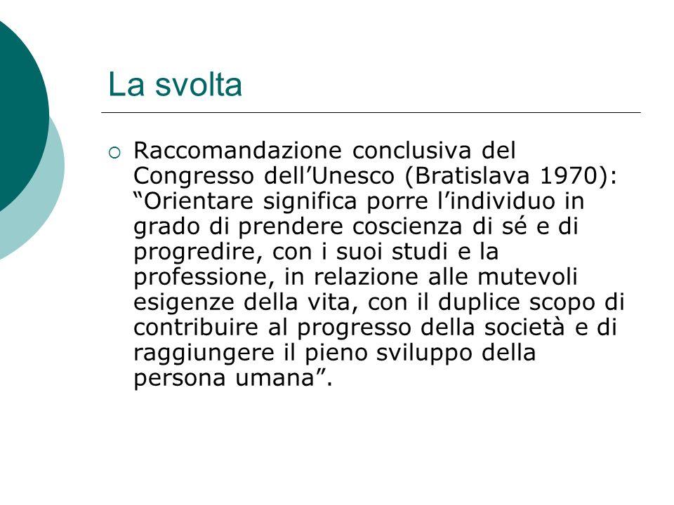 La svolta Raccomandazione conclusiva del Congresso dellUnesco (Bratislava 1970): Orientare significa porre lindividuo in grado di prendere coscienza d