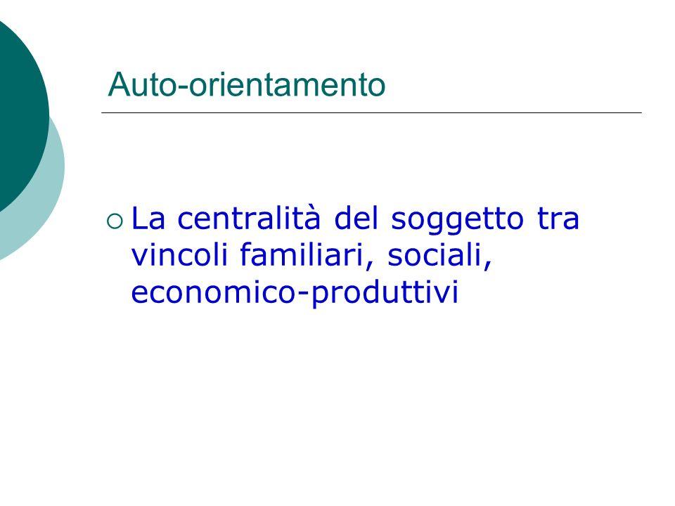 Auto-orientamento La centralità del soggetto tra vincoli familiari, sociali, economico-produttivi