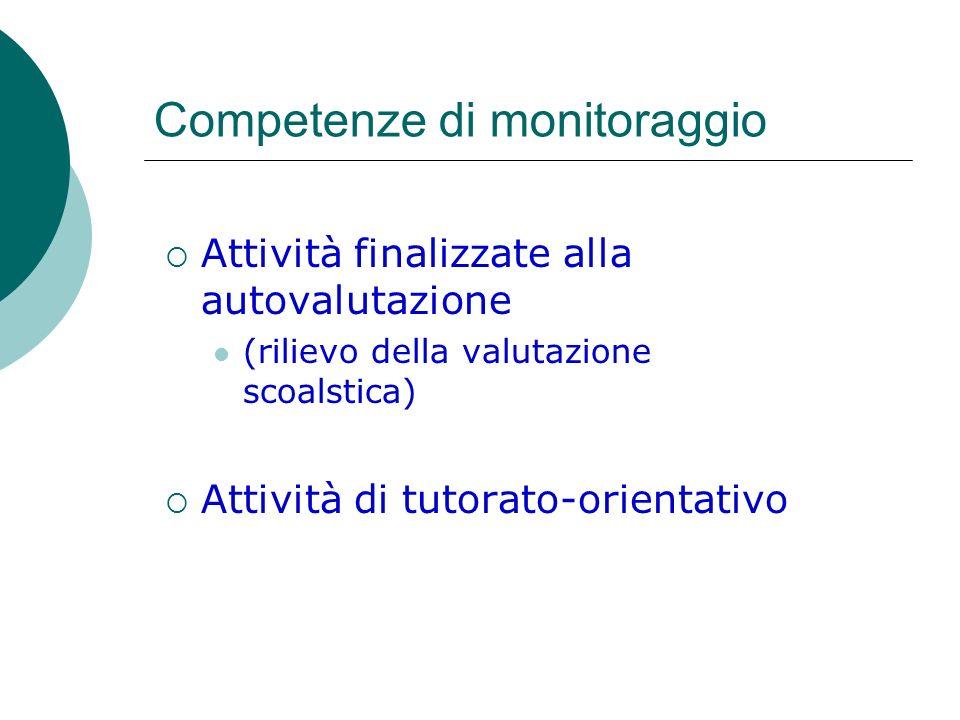 Competenze di monitoraggio Attività finalizzate alla autovalutazione (rilievo della valutazione scoalstica) Attività di tutorato-orientativo