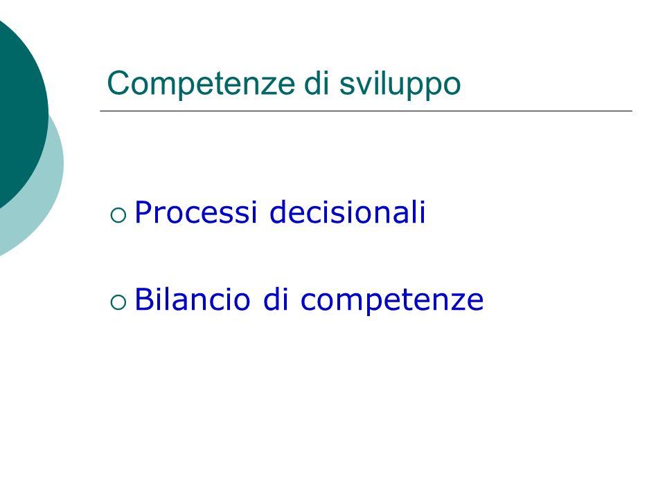Competenze di sviluppo Processi decisionali Bilancio di competenze
