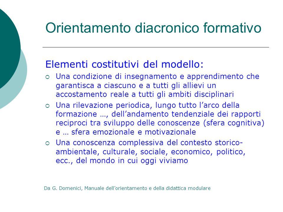 Orientamento diacronico formativo Elementi costitutivi del modello: Una condizione di insegnamento e apprendimento che garantisca a ciascuno e a tutti