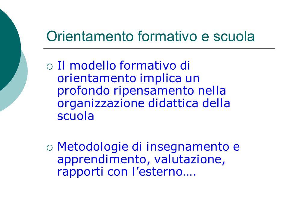 Orientamento formativo e scuola Il modello formativo di orientamento implica un profondo ripensamento nella organizzazione didattica della scuola Meto