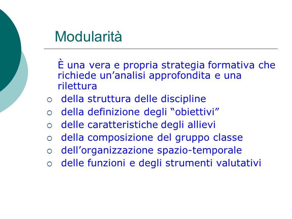 Modularità È una vera e propria strategia formativa che richiede unanalisi approfondita e una rilettura della struttura delle discipline della definiz