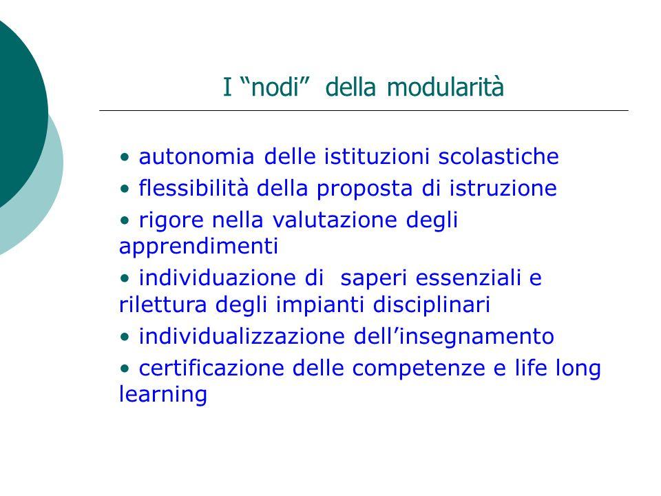 I nodi della modularità autonomia delle istituzioni scolastiche flessibilità della proposta di istruzione rigore nella valutazione degli apprendimenti