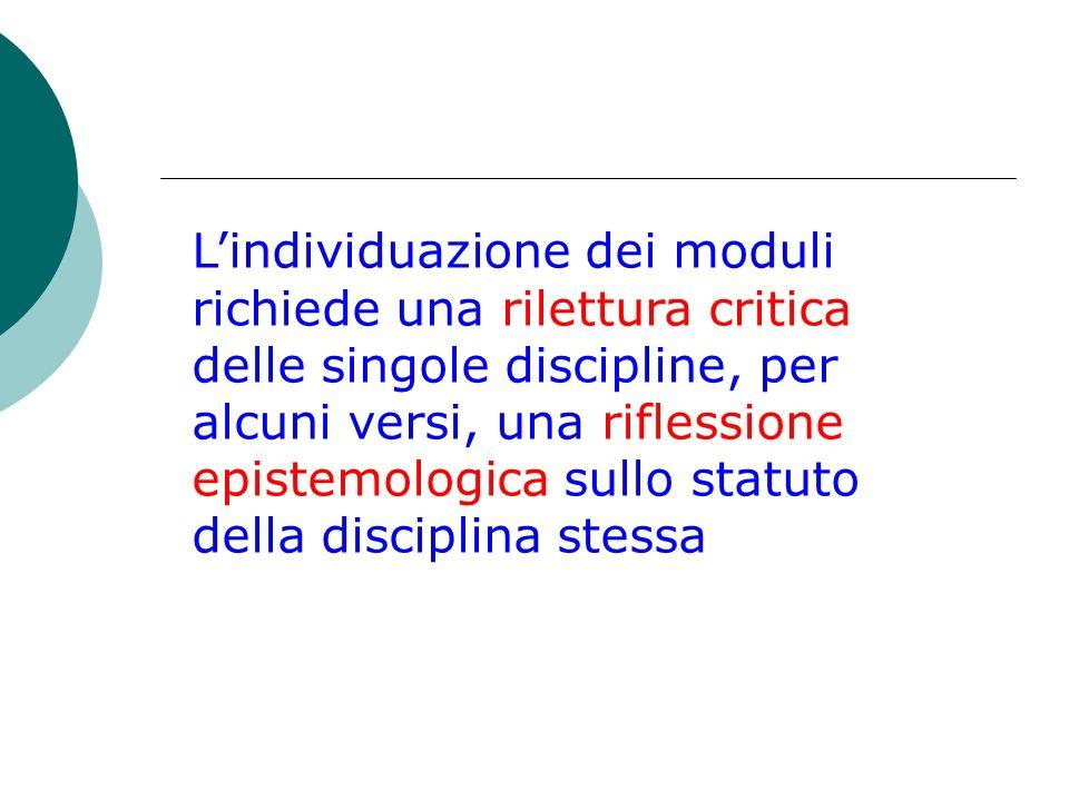 Lindividuazione dei moduli richiede una rilettura critica delle singole discipline, per alcuni versi, una riflessione epistemologica sullo statuto del
