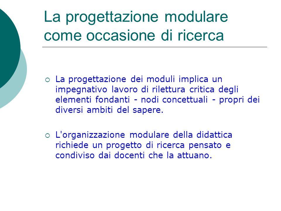 La progettazione modulare come occasione di ricerca La progettazione dei moduli implica un impegnativo lavoro di rilettura critica degli elementi fond