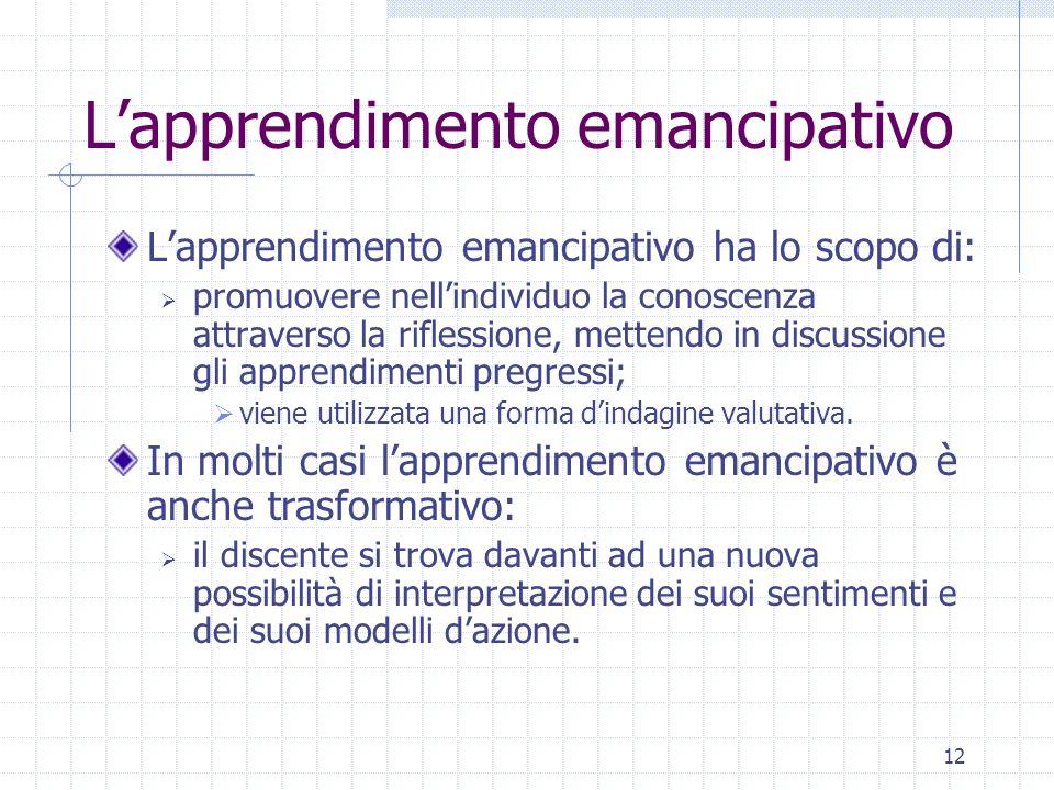 12 Lapprendimento emancipativo Lapprendimento emancipativo ha lo scopo di: promuovere nellindividuo la conoscenza attraverso la riflessione, mettendo