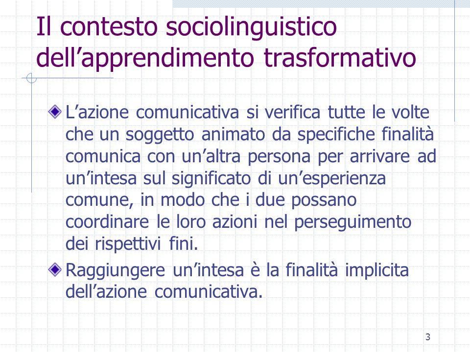 4 Il contesto sociolinguistico dellapprendimento trasformativo La competenza comunicativa comporta la capacità del soggetto di negoziare dei significati e delle finalità, anziché accettare passivamente delle realtà sociali definite da altri.