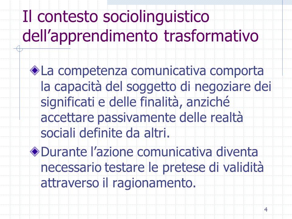 4 Il contesto sociolinguistico dellapprendimento trasformativo La competenza comunicativa comporta la capacità del soggetto di negoziare dei significa