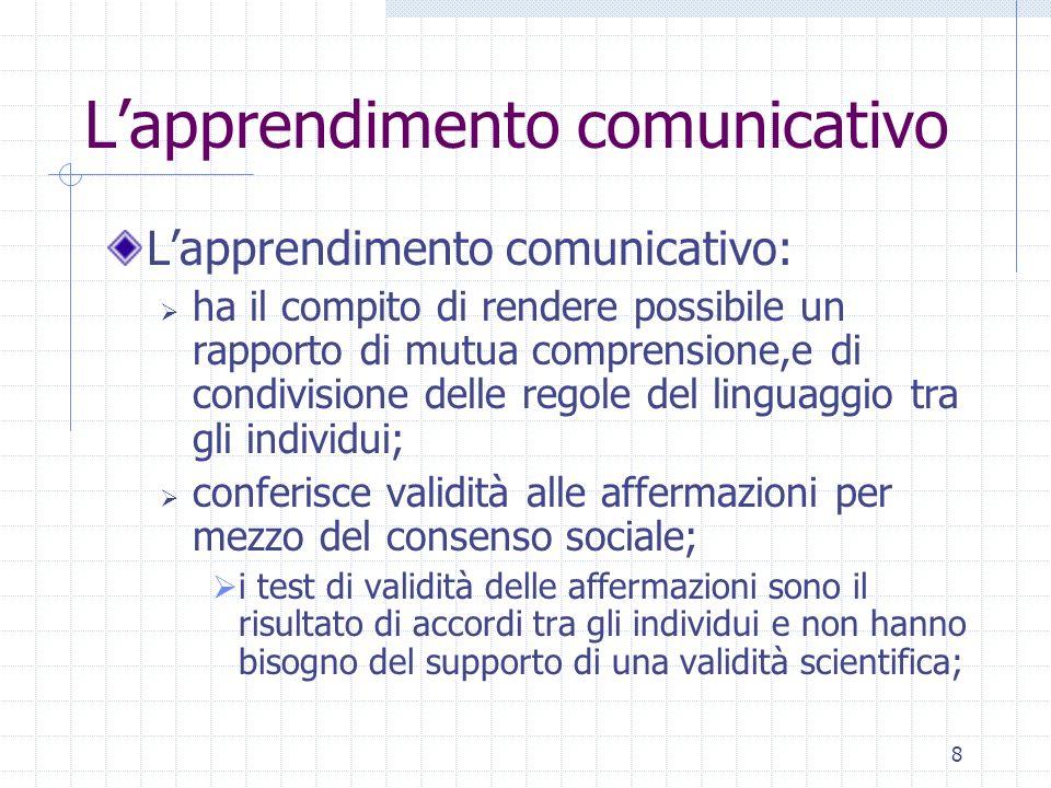8 Lapprendimento comunicativo Lapprendimento comunicativo: ha il compito di rendere possibile un rapporto di mutua comprensione,e di condivisione dell