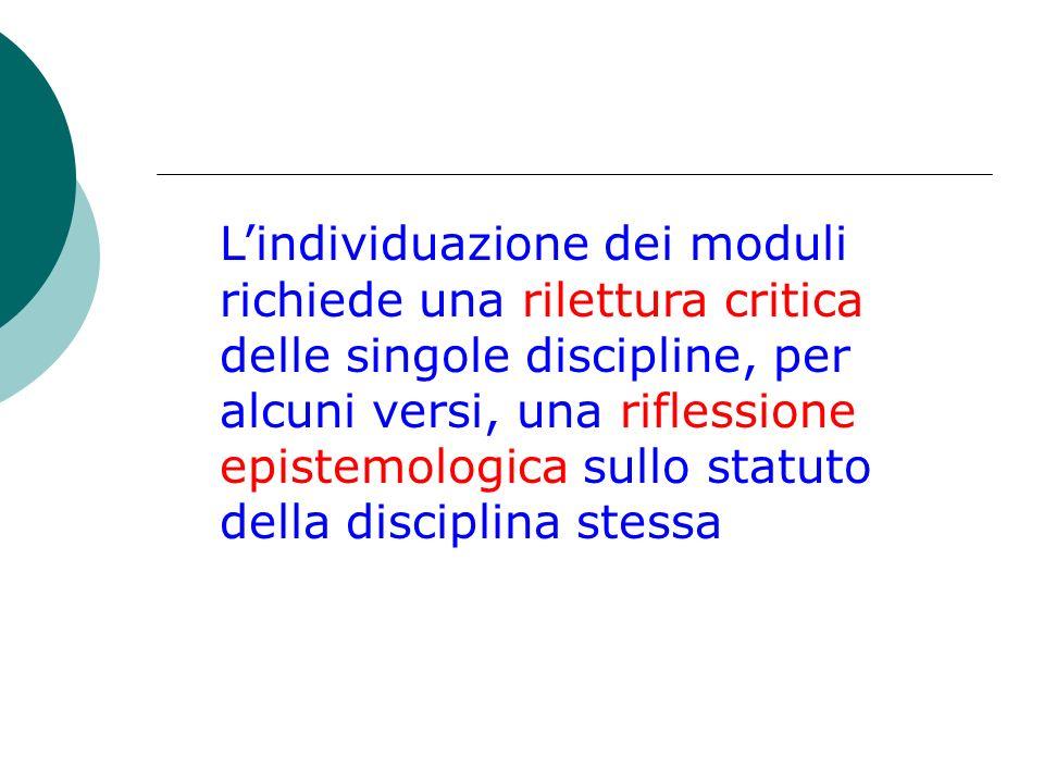 Lindividuazione dei moduli richiede una rilettura critica delle singole discipline, per alcuni versi, una riflessione epistemologica sullo statuto della disciplina stessa