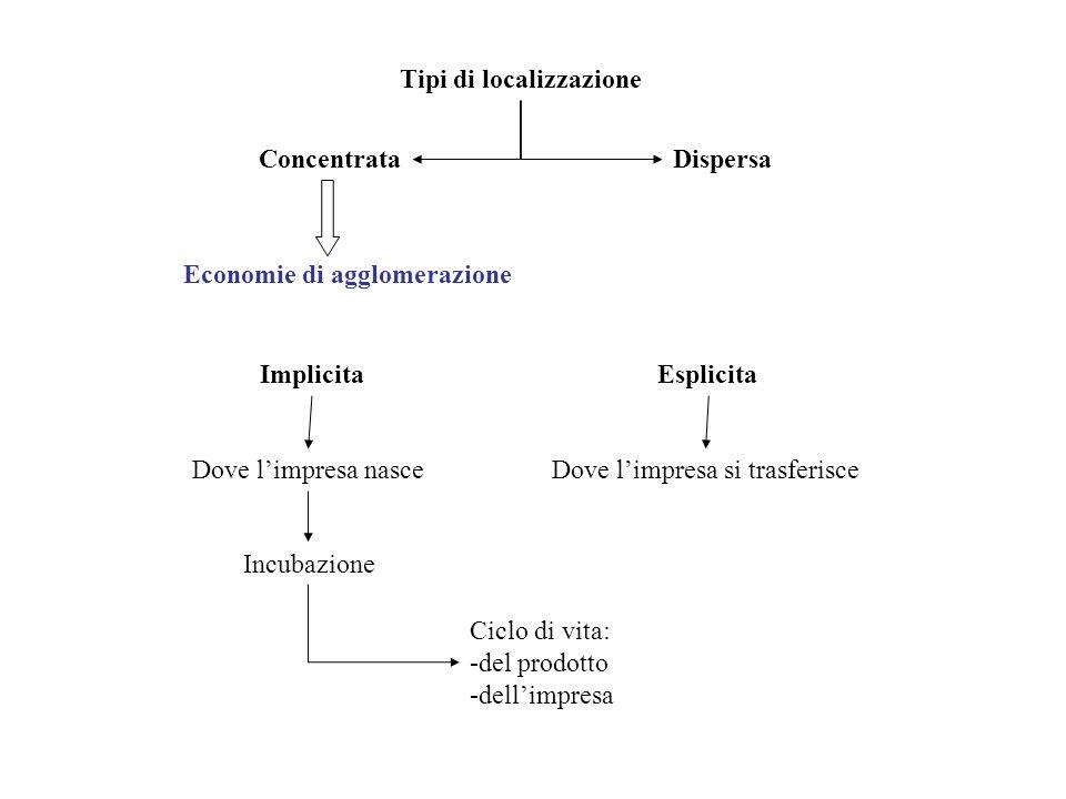 Tipi di localizzazione ConcentrataDispersa Economie di agglomerazione ImplicitaEsplicita Dove limpresa nasceDove limpresa si trasferisce Incubazione C