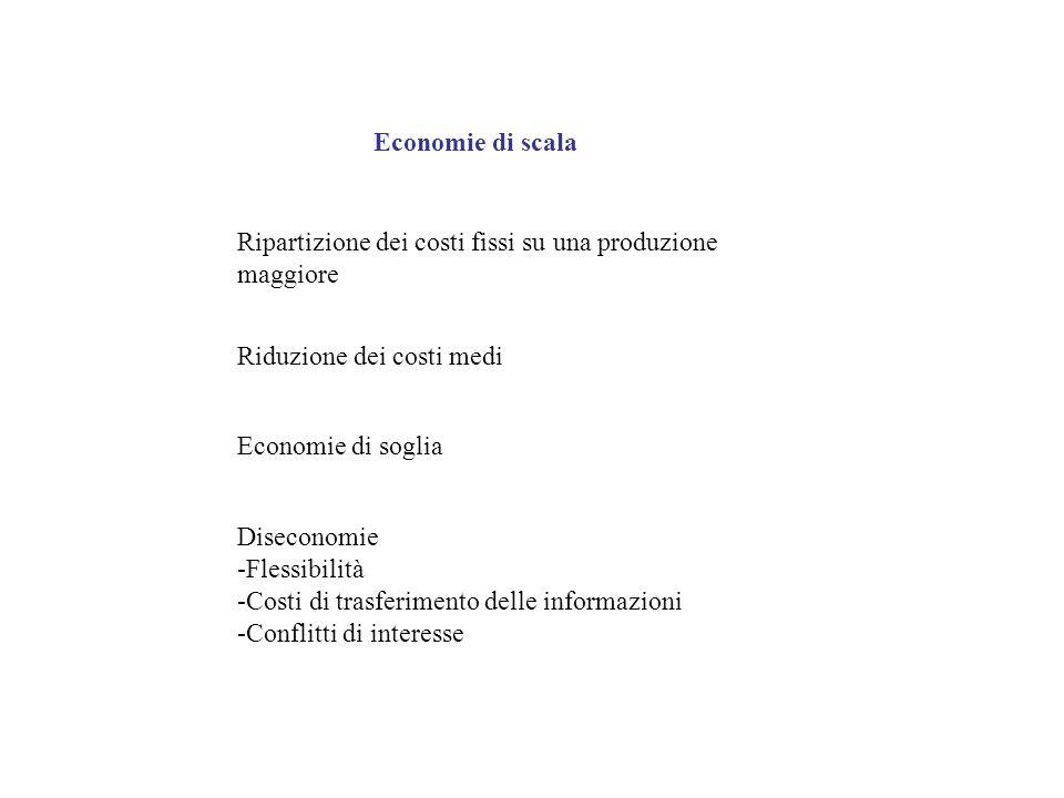 Economie di scala Ripartizione dei costi fissi su una produzione maggiore Riduzione dei costi medi Economie di soglia Diseconomie -Flessibilità -Costi