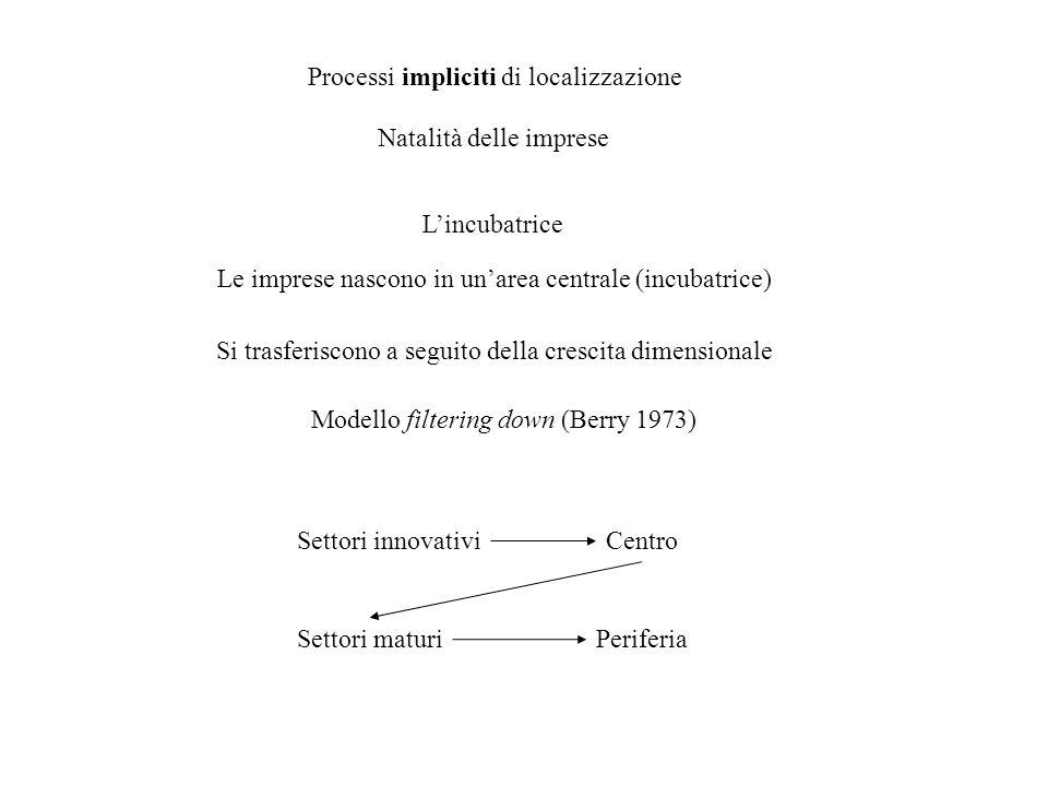 Processi impliciti di localizzazione Natalità delle imprese Lincubatrice Le imprese nascono in unarea centrale (incubatrice) Si trasferiscono a seguit