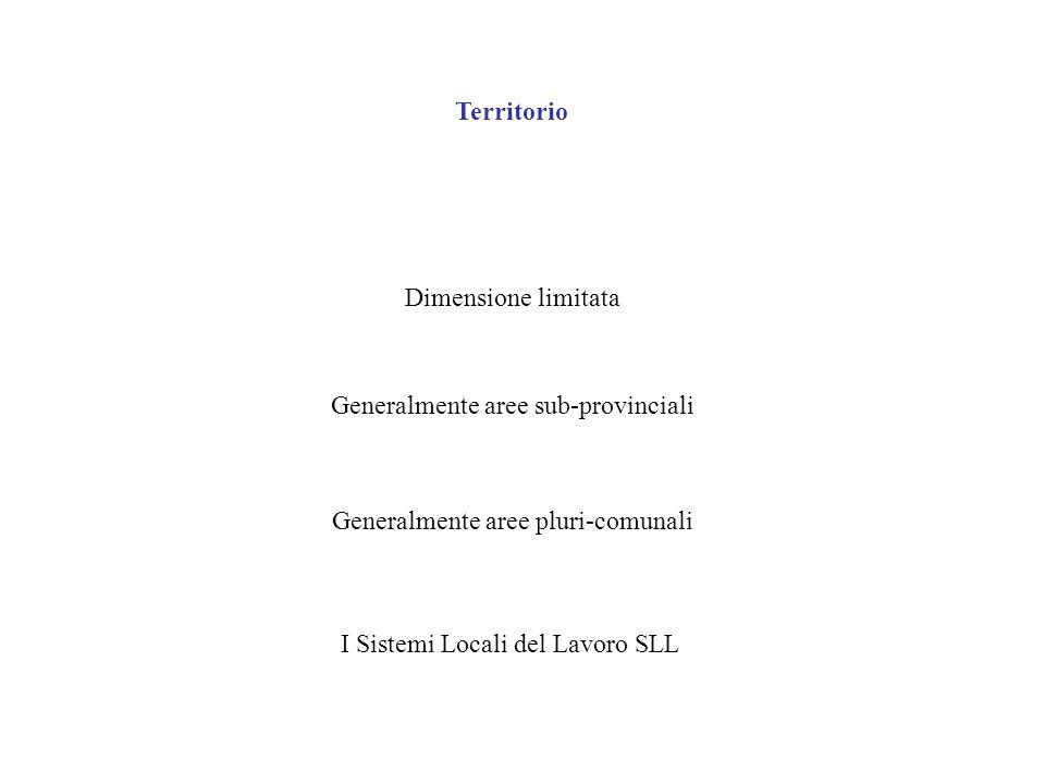 Territorio Dimensione limitata Generalmente aree sub-provinciali Generalmente aree pluri-comunali I Sistemi Locali del Lavoro SLL