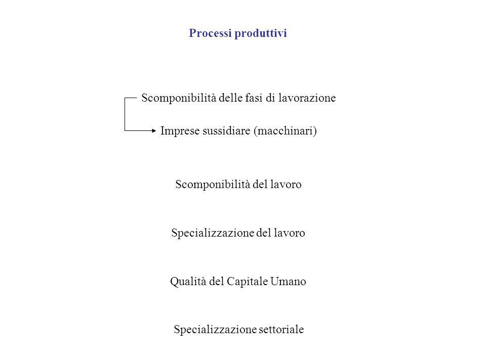 Processi produttivi Scomponibilità delle fasi di lavorazione Imprese sussidiare (macchinari) Scomponibilità del lavoro Specializzazione del lavoro Qua