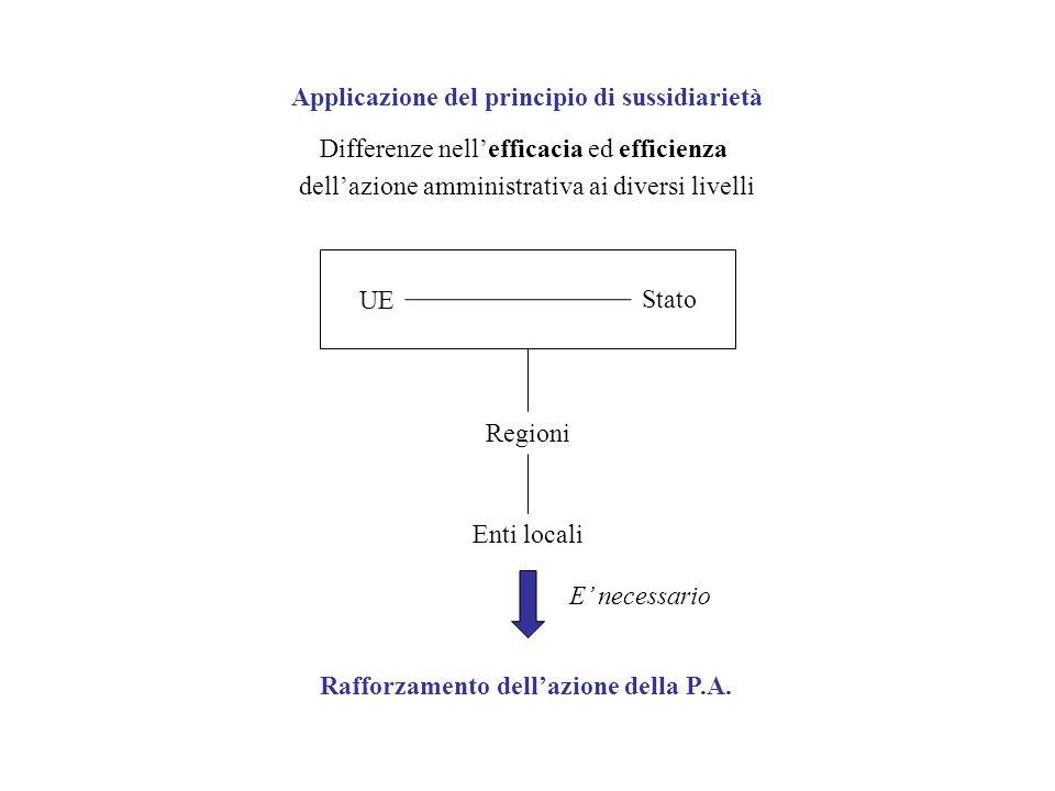 Differenze nellefficacia ed efficienza dellazione amministrativa ai diversi livelli UE Stato Regioni Enti locali Applicazione del principio di sussidi