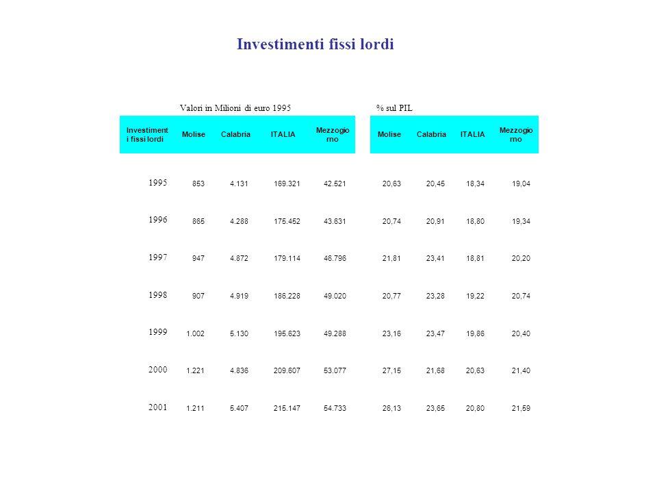 Valori in Milioni di euro 1995% sul PIL Investiment i fissi lordi MoliseCalabriaITALIA Mezzogio rno MoliseCalabriaITALIA Mezzogio rno 1995 853 4.131 1