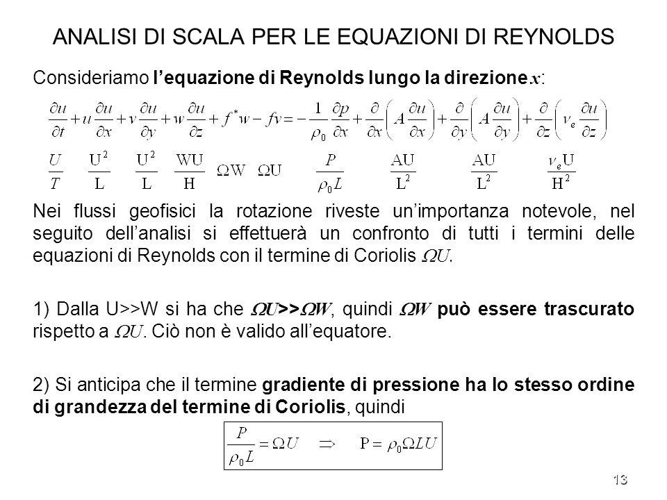 13 ANALISI DI SCALA PER LE EQUAZIONI DI REYNOLDS Consideriamo lequazione di Reynolds lungo la direzione x : Nei flussi geofisici la rotazione riveste