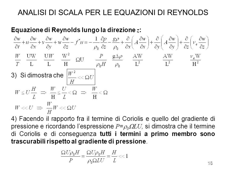 16 ANALISI DI SCALA PER LE EQUAZIONI DI REYNOLDS Equazione di Reynolds lungo la direzione z : 3) Si dimostra che 4) Facendo il rapporto fra il termine