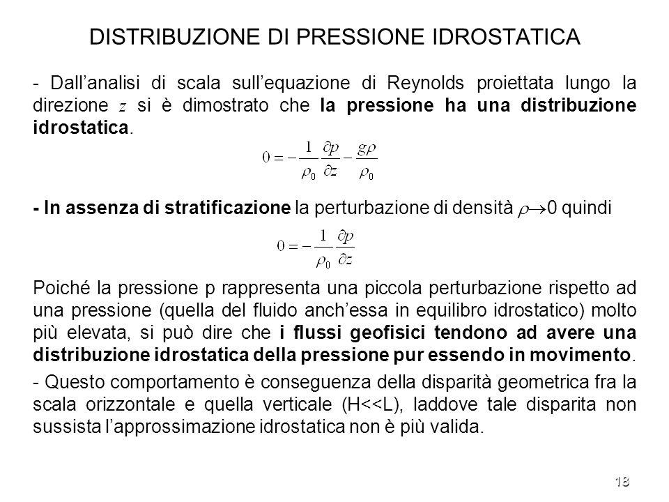 18 DISTRIBUZIONE DI PRESSIONE IDROSTATICA - Dallanalisi di scala sullequazione di Reynolds proiettata lungo la direzione z si è dimostrato che la pres